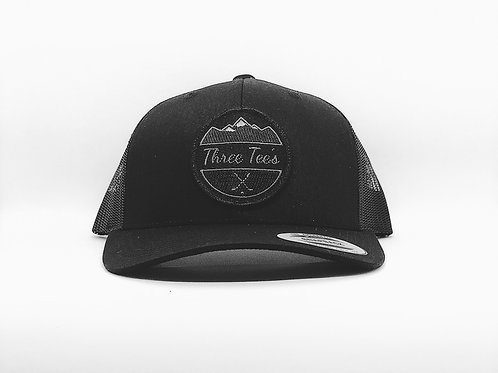 Three Tee's Golf Logo Snapback-Black/Black