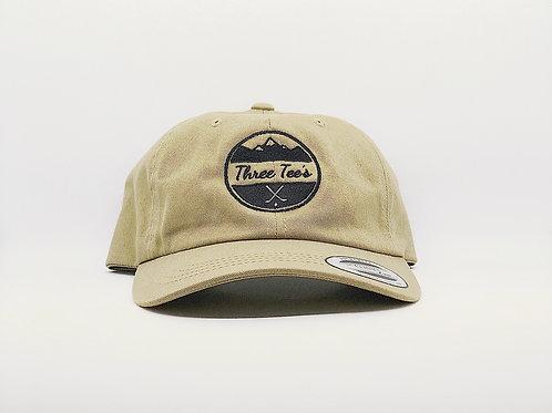 Three Tee's Golf Logo Dad Hat- Khaki