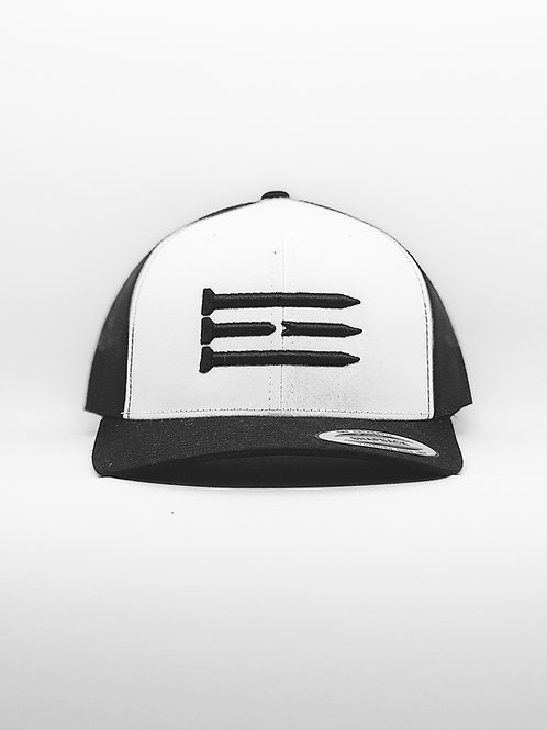 Three Tee's Golf Tri-Tee SnapBack- Black/White