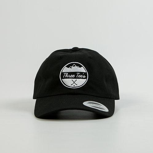 Three Tee's Logo Dad Hat-Black