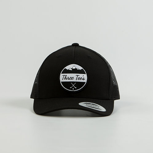 Three Tee's Golf Logo Snapback- Black