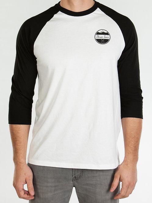 Three Tee's Golf 3/4 Sleeve-Black/White