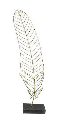 Escultura Pluma Oro L