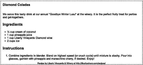 Liberty Vineyards Diamond Colada Recipe