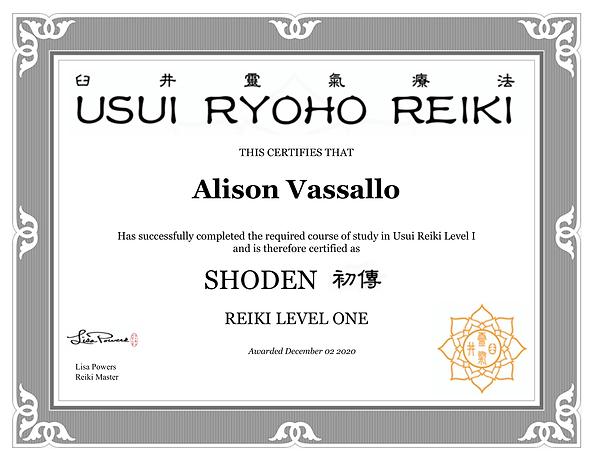 Reiki Level I, II Master Certificates De