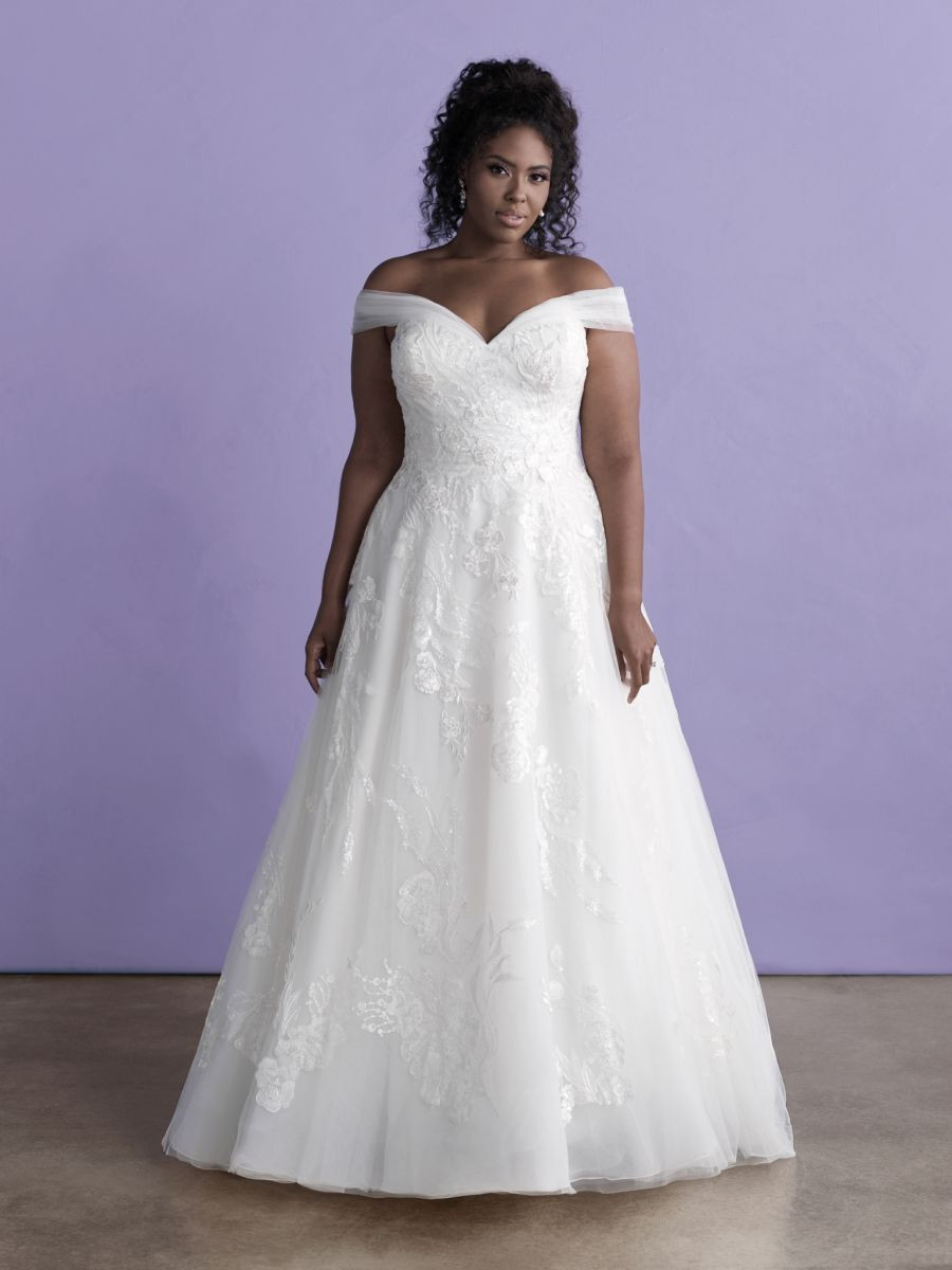 Style 3369w by Allure Bridals. Wedding dress suggestion for full-chested bride. Off shoulder A-line style.