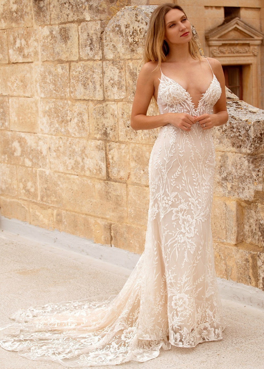 Love Affair by Dando London. Wedding dress suggestion for short / petite bride. Plunging v-neck column dress with spaghetti straps.