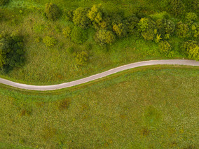Aerial view of twisting road among the f