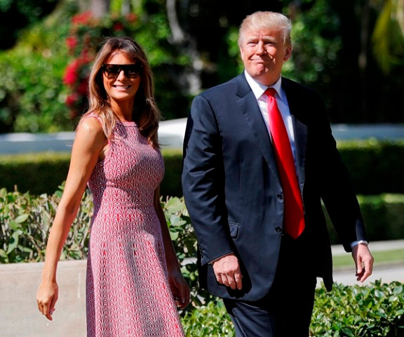President Trump and Melania Trump arriving to attend the Easter service in Palm Beach, FL