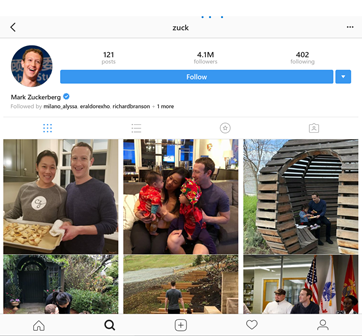 Mark Zuckerberg real account on Instagram