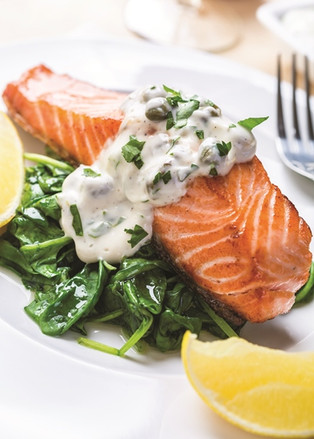 Roasted Salmon with Spinach and Yogurt Cream