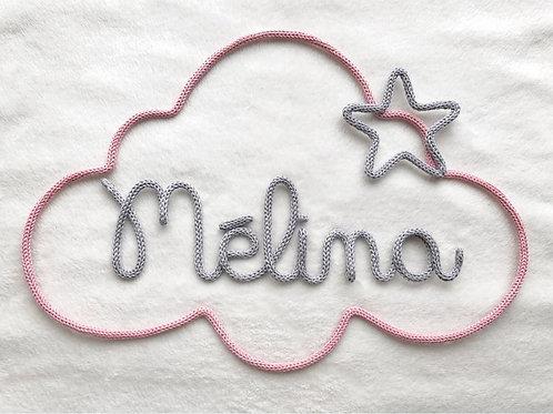 Tricotin personnalisé 6 lettres + nuage +étoile ou coeur