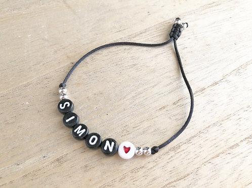 Bracelet perles black personnalisé heart red