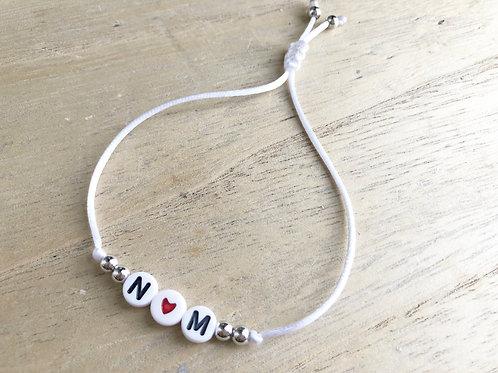 Bracelet personnalisé initiales heart