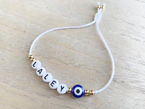 Bracelet personnalisé prenom + contre mauvais oeil