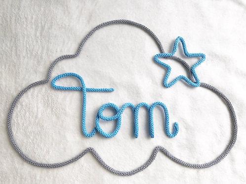 Tricotin personnalisé 3 lettres + nuage +étoile ou coeur
