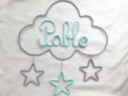 Tricotin personnalisé 5 lettres + nuage + 3 étoiles