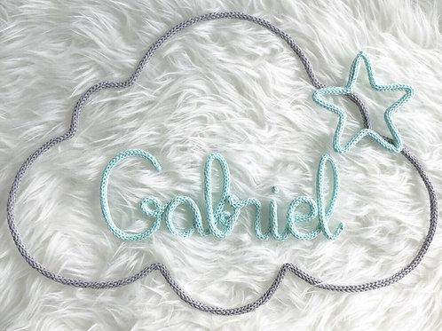 Tricotin personnalisé 7 lettres + nuage +étoile ou coeur