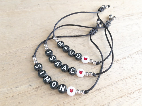 Bracelets perles black personnalisés black Heart Trio