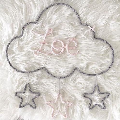 Tricotin personnalisé 3 lettres + nuage + 3 étoiles