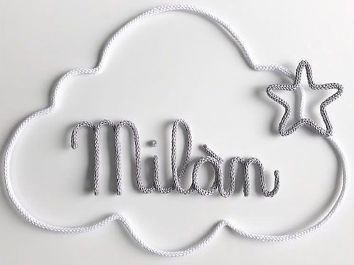 Tricotin personnalisé 5 lettres + nuage +étoile ou coeur