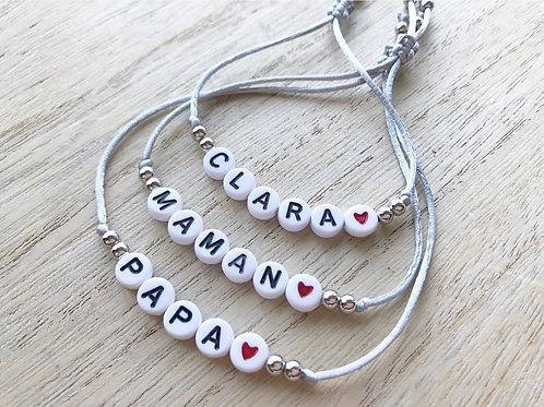 Bracelets personnalisés white Heart red Trio