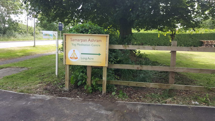 New signage ~ Samarpan Meditation this way!