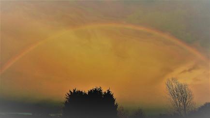A golden rainbow sky over the Ashram planting