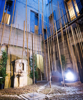Mimicry, bamboo installation, photo & video show by KATE KW. Performance with Mirousha Thomann. Hotel Baudon de Mauny, Montpellier, 2019