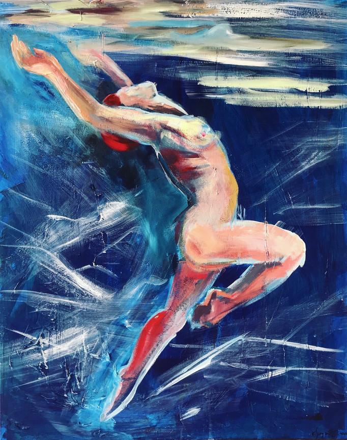 Kate Wyrembelska - Nageurs - tableaux