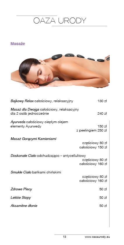 Oaza Urody Prices Catalogue