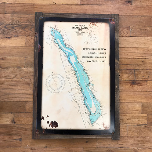 Antique Inland Lakes Map