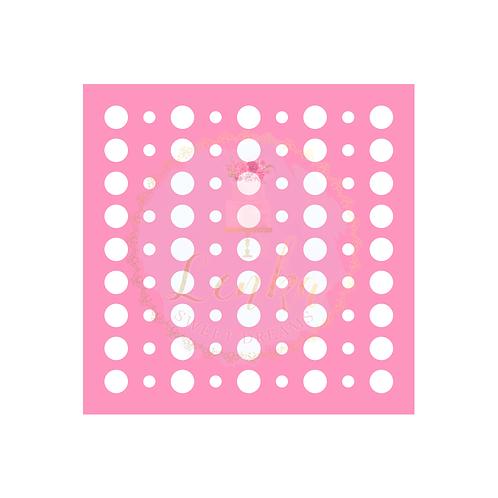 Στένσιλ κύκλοι μικροί και μεγάλοι σε σειρές.