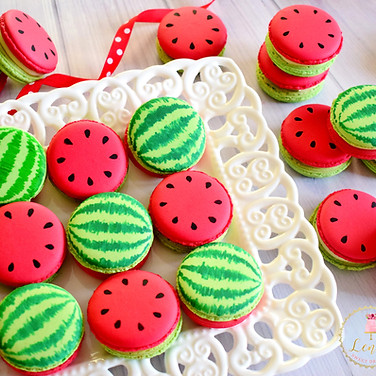 Watermelon macarons painting.