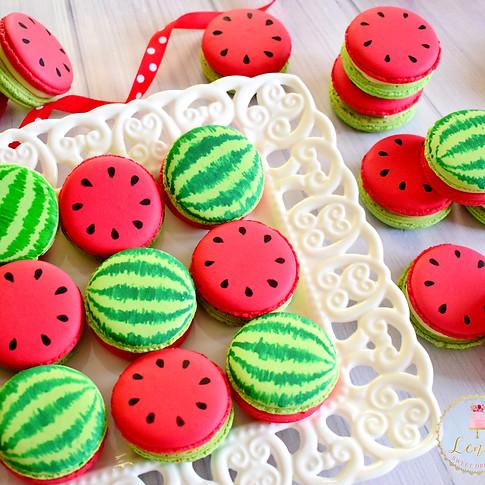 Watermelon macarons painting.