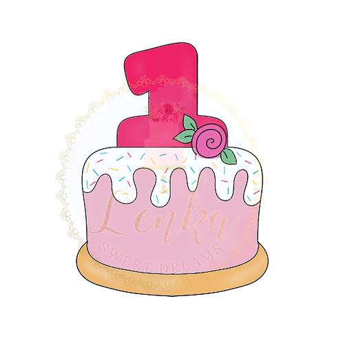 """Κουπάτ τούρτα με αριθμό """"1""""."""