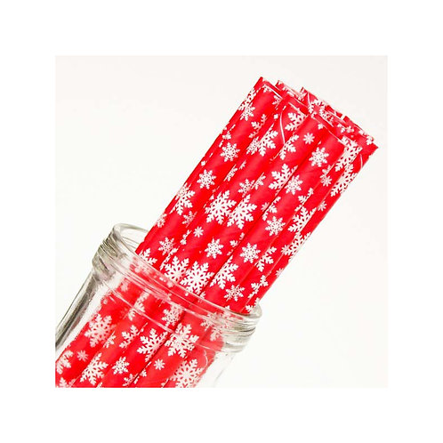 Xάρτινα καλαμάκια με μοτίβα χιονονιφάδες σε κόκκινο φόντο.