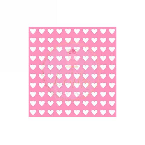 Στένσιλ μικρές καρδιές σε σειρές.