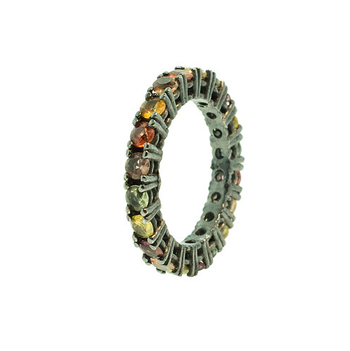PITCHBLACK MULTICOLORED SAPPHIRE ETERNITY BAND