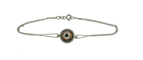 HAND PAINTED EVIL EYE BRACELET ON 14K GOLD WITH 0.23 CT DIAMONDS