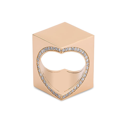 TheWord 18K Rose Gold with Diamonds  Around the Heart