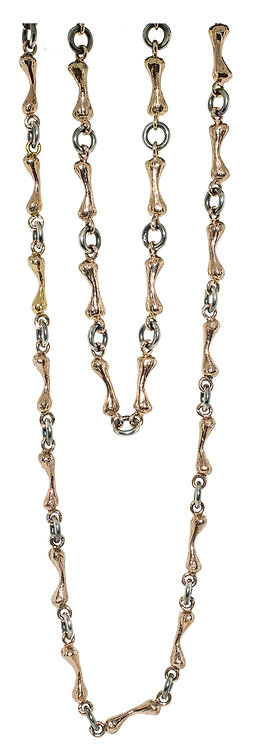 Bone Chain 14K Rose Gold and Silver - 32 inch