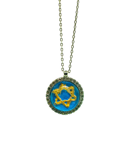 HAND PAINTED STAR OF DAVID PENDANT ON 14K GOLD WITH 0.23 CT DIAMONDS