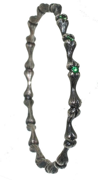 Bone Bracelet Green Garnet