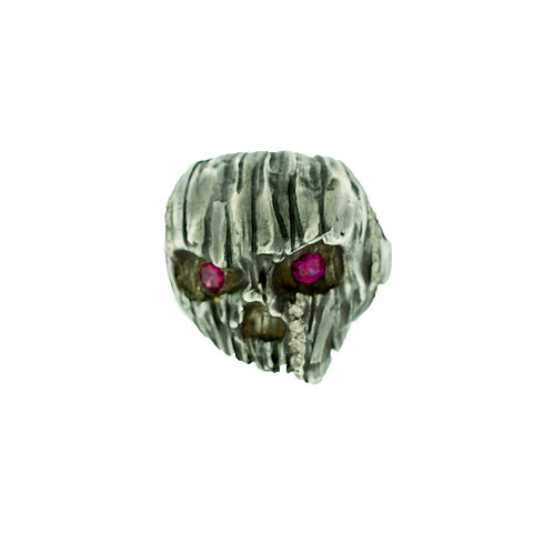 Wooden Silver Skull Ring with Diamonds and Corudum