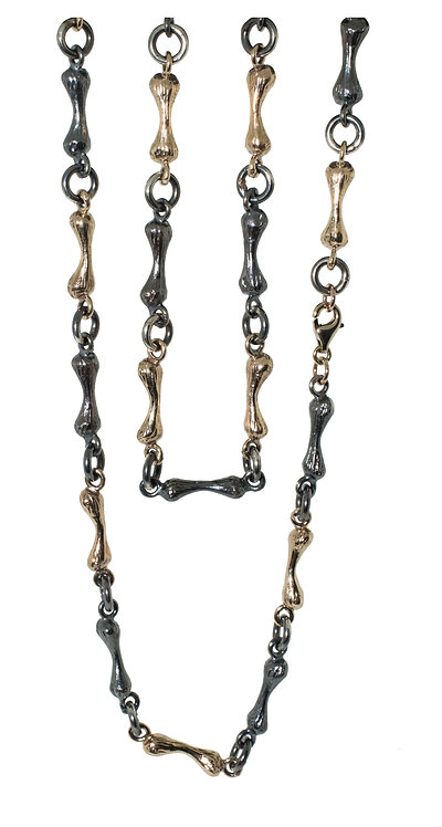Bone Chain  Silver and 14K Yellow Gold - 24 inch