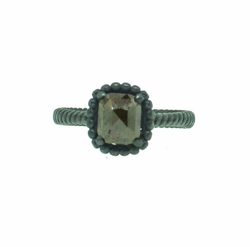 PITCHBLACK II BROWN CUSHION CUT DIA RING