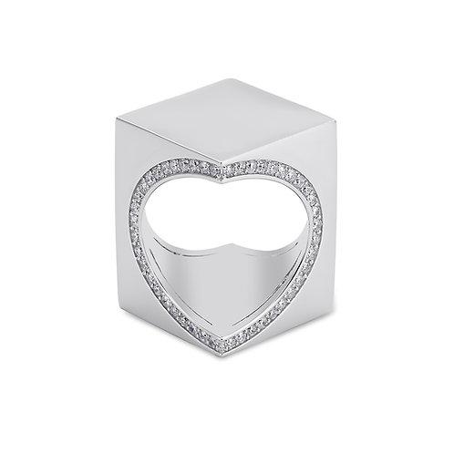 TheWord 18K White  Gold with Diamonds Around the Heart