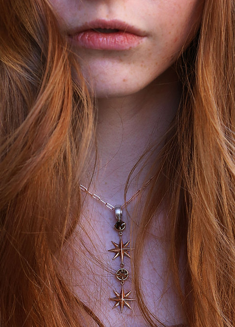 TheNORTHSTAR Pendant with Orange and Brown Diamond