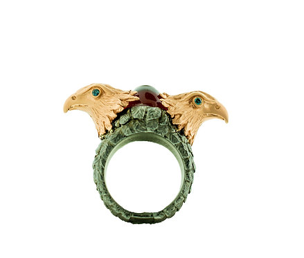 Double Eagle Ring with Garnet